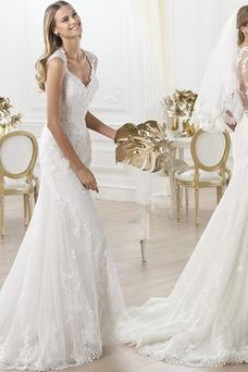 Vestido de novia Apliques Sin cintura Triángulo Invertido Sin mangas