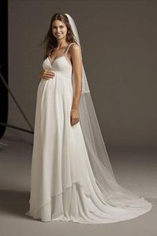 Vestido de novia Gasa Imperio Cintura largo Botón primavera Imperio
