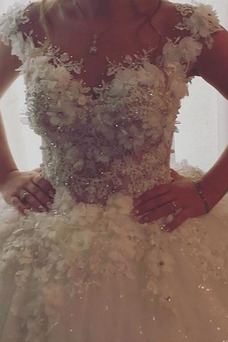 Vestido de novia Invierno Iglesia Botón Pura espalda Rosetón Acentuado