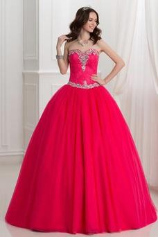 Vestido de quinceañeras Cordón Falta Corte-A Volantes Adorno tul Natural