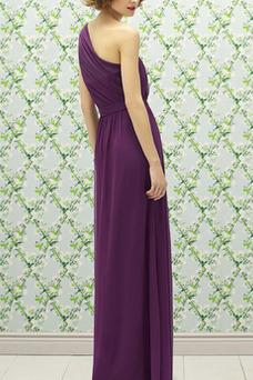 Vestido de dama de honor Corte-A Un sólo hombro Lazos Natural Sin mangas Espalda medio descubierto