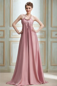 Vestido de noche Cremallera Imperio Joya primavera Plisado Satén Elástico