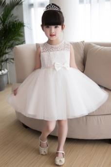 Vestido niña ceremonia Cremallera Glamouroso Corte-A Encaje Natural Falta