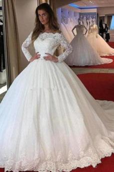 Vestido de novia Espectaculares Escote con Hombros caídos Corte-A Cola Catedral