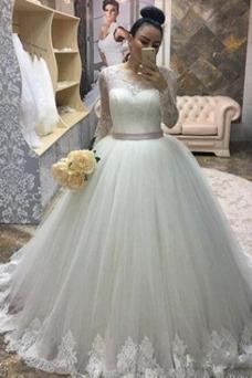 Vestido de novia Elegante Lazos Natural tul Cola Corte Joya