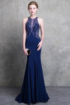 Vestido de noche sexy Satén Corte Sirena Cremallera Joya Natural
