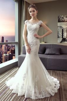 Vestido de novia Escote con Hombros caídos Cola Barriba Natural Manga corta
