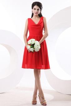 Vestido de dama de honor Volantes Adorno Escote en V Rojo Oscilación Hasta la Rodilla