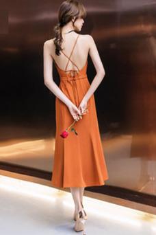 Vestido de cóctel Satén Sin mangas Natural Escote en V Corte-A Espalda Descubierta