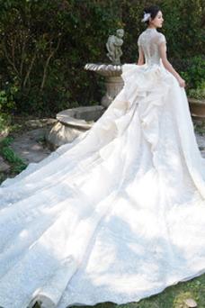 Vestido de novia Invierno Iglesia Formal Manga corta Corpiño Acentuado con Perla