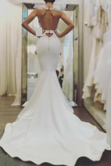 Vestido de novia Capa de encaje Abalorio Sin mangas tul Joya Natural
