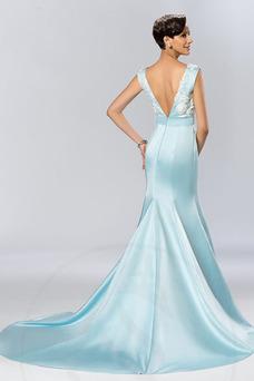 Vestido de noche Apliques Corte Sirena Cremallera primavera Triángulo Invertido