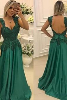 Vestido de noche Espalda Descubierta Satén Elástico Elegante Arco Acentuado
