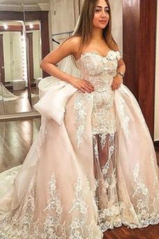 Vestido de novia primavera Capa de encaje Fuera de casa Sin mangas Satén