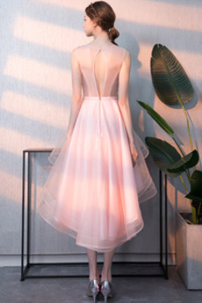Vestido de cóctel Pera Natural Espalda con ojo de cerradura Organza Moderno
