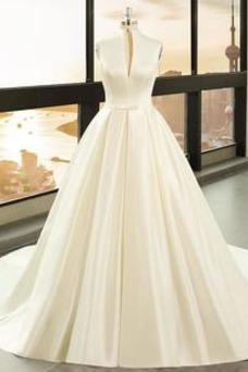 Vestido de novia Playa Escote en V Arco Acentuado Corte-A Cremallera