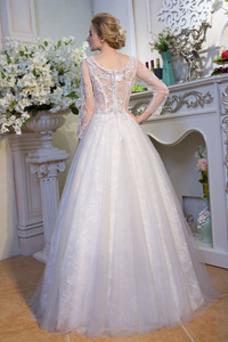 Vestido de novia Iglesia Encaje Mangas Illusion Escote en V Natural
