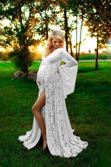 Vestido de novia Imperio Hasta el suelo Encaje Apertura Frontal Capa de encaje