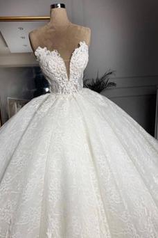 Vestido de novia Sala Capa de encaje Hasta el suelo primavera Tallas grandes