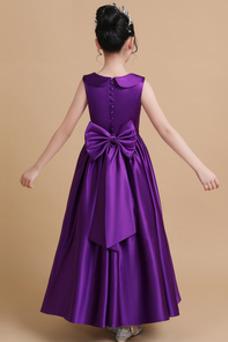 Vestido niña ceremonia Sin mangas Joya Falta Lazos Natural Satén