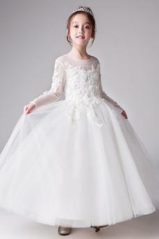 Vestido niña ceremonia Apliques Joya Formal Pera Corte-A Cremallera