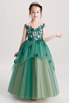 Vestido niña ceremonia Corte-A Cremallera Encaje Joya Hasta el Tobillo Falta