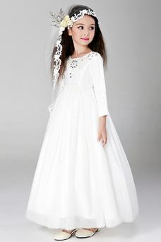 Vestido niña ceremonia Joya Camiseta Drapeado Invierno Corte-A Corpiño Acentuado con Perla