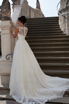 Vestido de novia Corte-A Sala largo Barco Cristal Natural