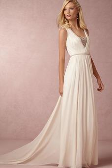 Vestido de novia Gasa Cola Capilla Plisado Fuera de casa Verano Alto cubierto
