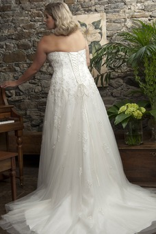 Vestido de novia Corte-A Abalorio Sala Otoño Escote Corazón Cintura Baja
