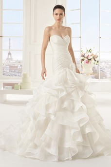 Vestido de novia primavera Cola Capilla Natural Cremallera Escalonado