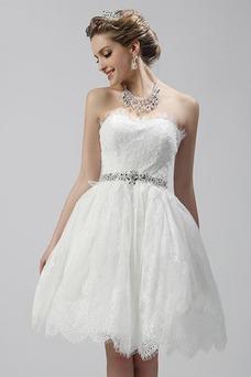 Vestido de novia Corto Encaje Cremallera Escote Corazón Verano Corte-A