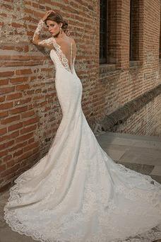 Vestido de novia Mangas Illusion Fuera de casa Escote en V Cola Capilla