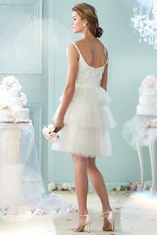 Vestido de novia Corto Natural Espalda medio descubierto tul Fuera de casa