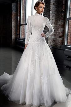 Vestido de novia Invierno Manga larga Iglesia Clasicos Natural Cremallera