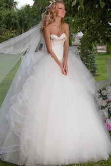 Vestido de novia Formal tul Bola Escalonado Cintura Baja largo