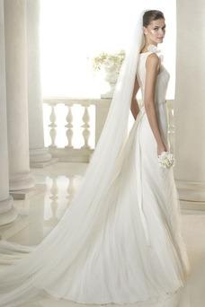 Vestido de novia Corte Recto Flores Natural largo Sin mangas Cremallera