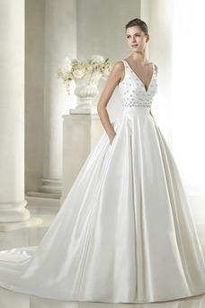 Vestido de novia Cola Capilla Colores Bolsillos Natural Iglesia Espalda medio descubierto