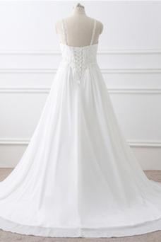 Vestido de novia Imperio largo Fuera de casa Sin mangas Escote de Tirantes Espaguetis