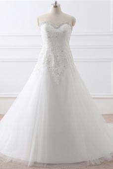 Vestido de novia Corte-A tul Cola Catedral Rectángulo Sin mangas Formal