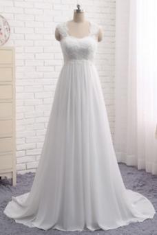 Vestido de novia Encaje Escote Cuadrado Gasa Sin mangas Imperio Natural
