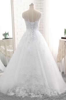 Vestido de novia Sin tirantes Natural Cordón Capa de encaje Encaje Fajas