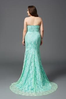 Vestido de noche Elegante Cremallera Rectángulo Sin tirantes Capa de encaje
