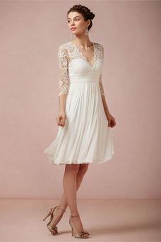 Vestido de novia Imperio Baja escote en V Glamouroso Gasa Verano Manga de longitud 3/4