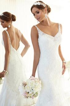 Vestido de novia Encaje primavera Natural Encaje Corte Recto Espalda medio descubierto