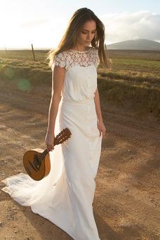 Vestido de novia Informal Cremallera Natural Corte Recto Joya Fuera de casa