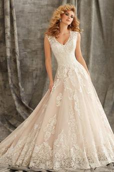 Vestido de novia largo Escote en V Encaje Natural Otoño Manga corta