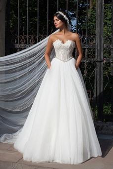 Vestido de novia Cristal Otoño largo Corte-A Vasco Escote Corazón