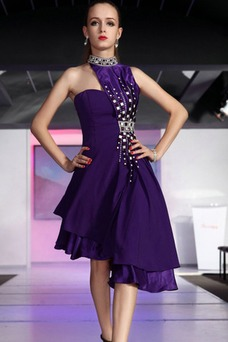 Vestido de fiesta Satén Natural Asimétrico Dobladillo Corpiño Acentuado con Perla