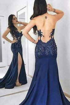 Vestido de noche Corte Sirena Espalda Descubierta Satén Cola Barriba